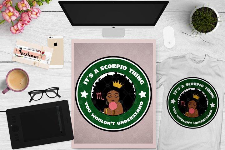 Zodiac, Afro Woman, Scorpio, Melanin Poppin, Afro Girl SVG