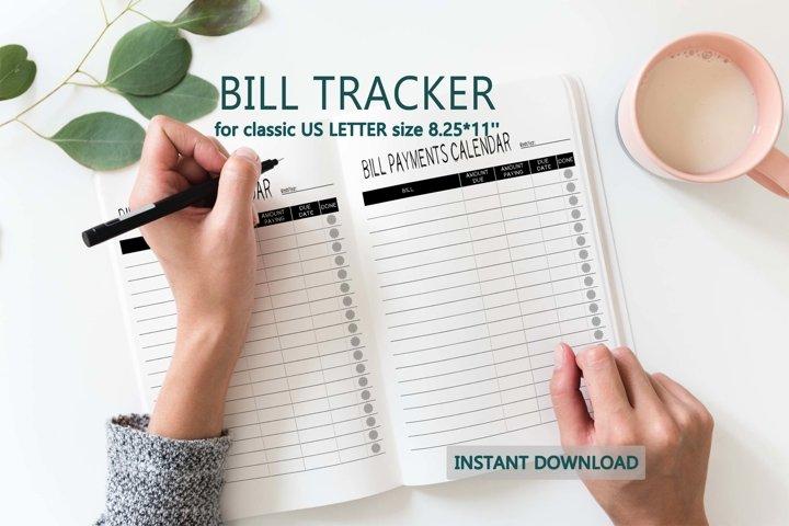 Bill tracker Bill organizer and planner printable insert
