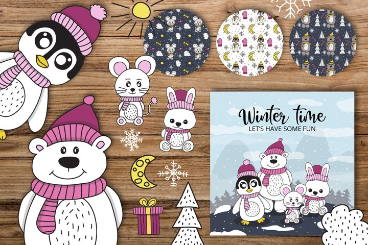 Winter party animals patterns