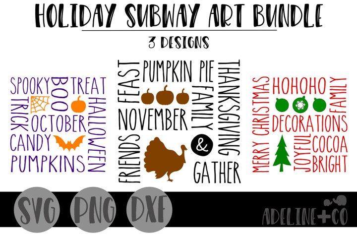Holiday Subway Art bundle, svg, png, dxf