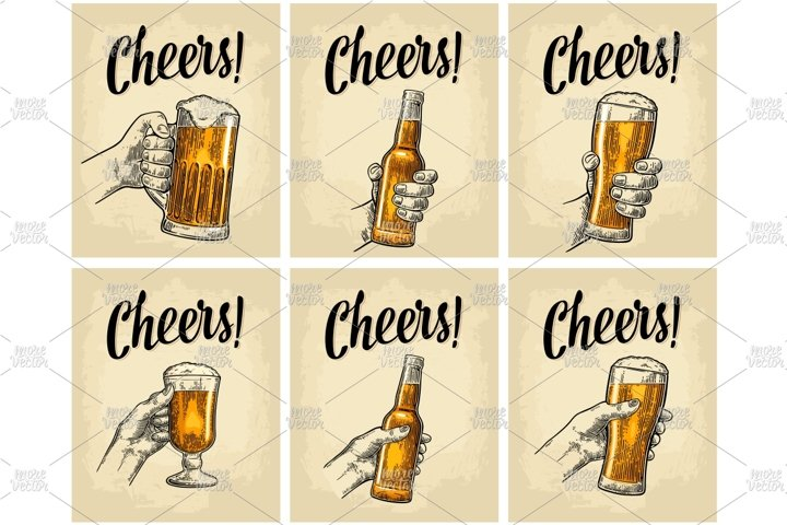 Hands clinking beer glasses and bottle engraving. Cheers