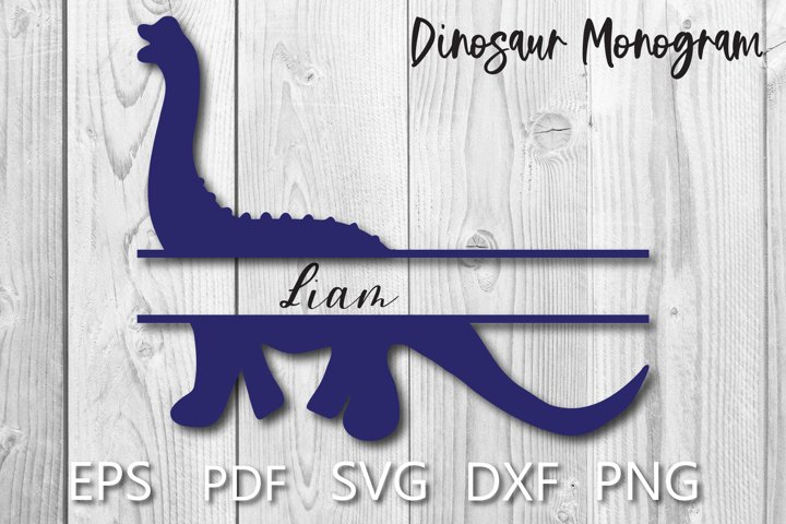 Dinosaur Monogram SVG Cut File for Cricut