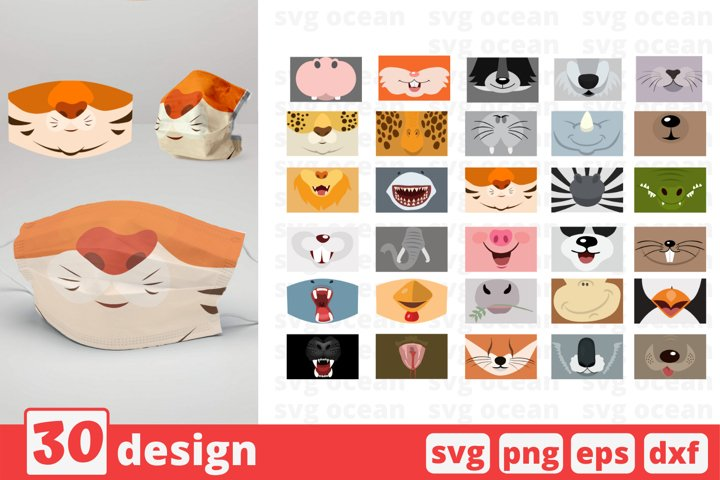 30 ANIMAL FACES MASK svg pattern, animals faces svg
