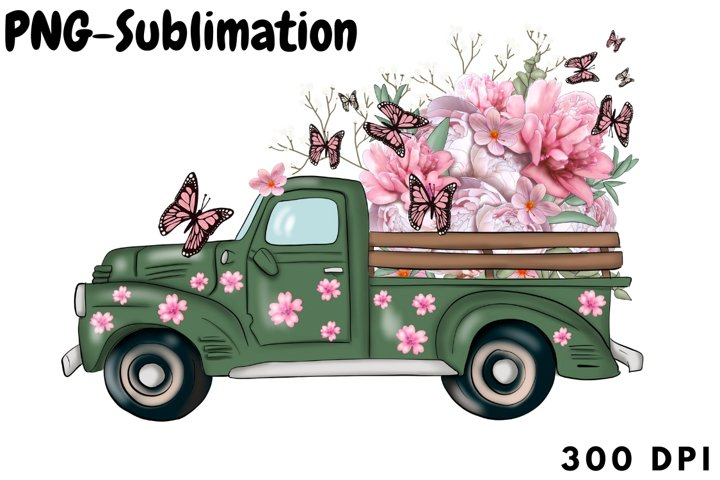 Spring Truck With Flowers Png Sublimation