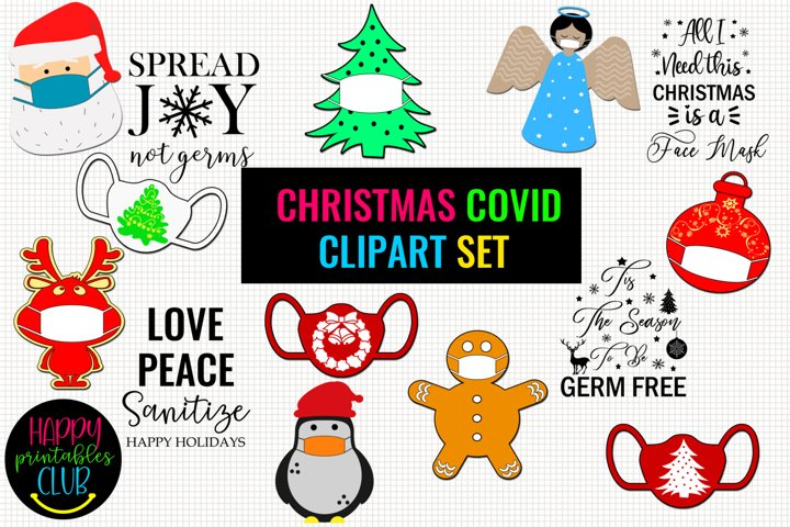 Christmas COVID Clipart Set- Christmas Clipart Face Masks
