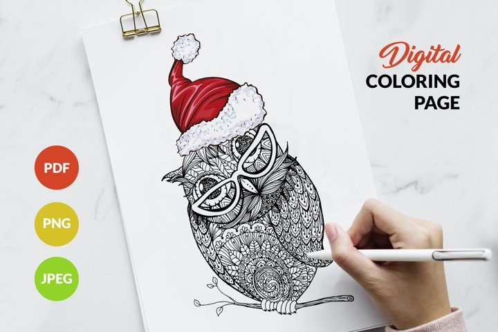 Owl Coloring Pages, Owl in the Santa Claus hat and glasses
