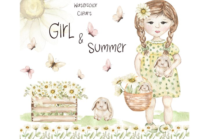 Watercolor Little Girl and Summer Set