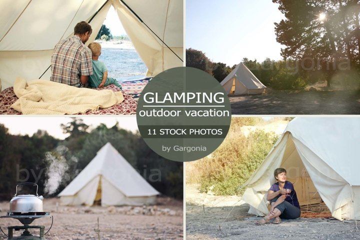 Glamping campsite outdoor vacation 11 Stock Photos