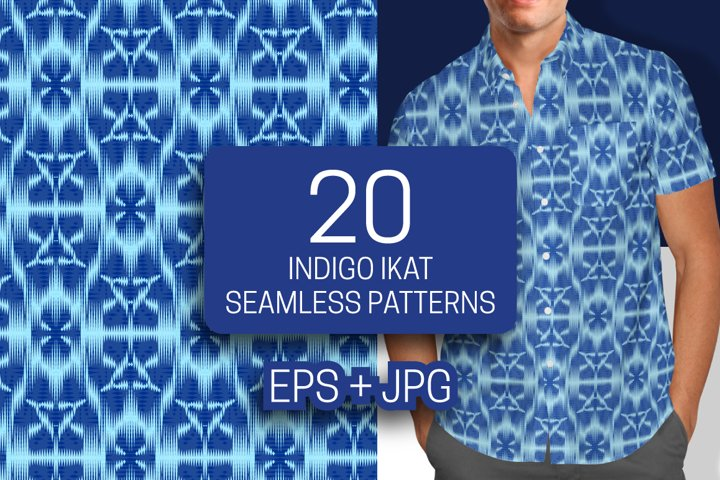 20 indigo ikat seamless patterns