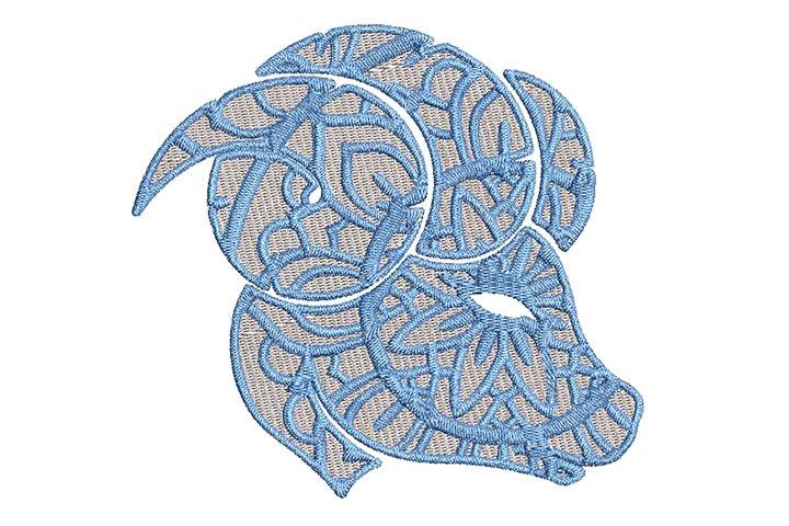 Zodiac Aries Mandala Style Embroidery Design