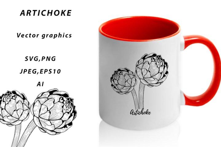 Artichoke. Vector graphics.Artichoke png.