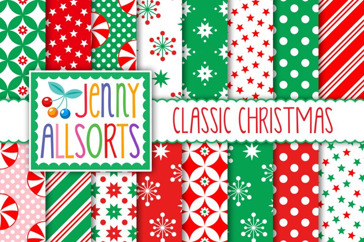 Classic Christmas Patterns, red & green digital papers