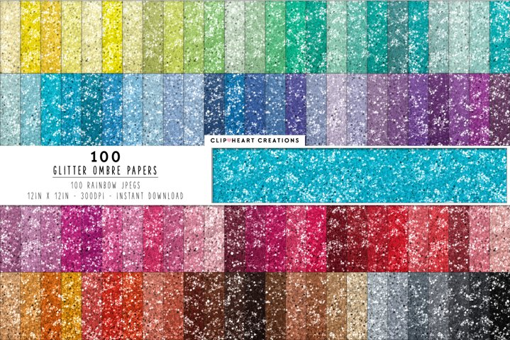 100 Glitter Ombre Digital Papers - rainbow colors
