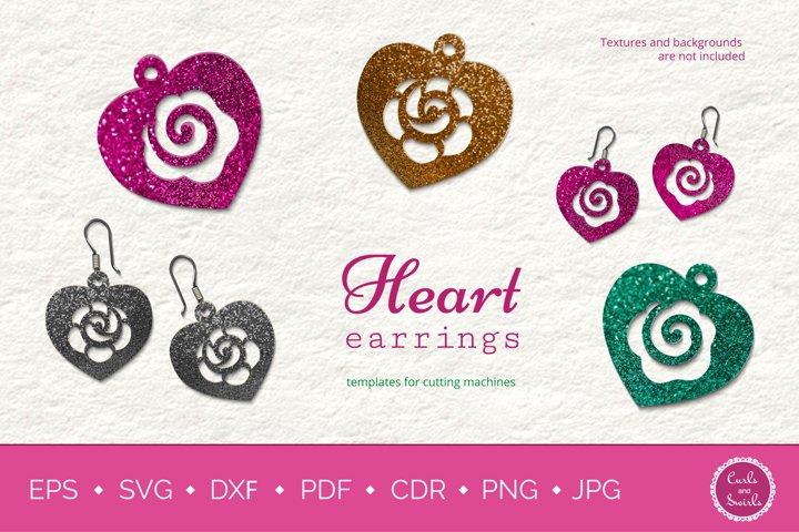 Rose Heart Earrings SVG mini Bundle, Heart Earrings Template