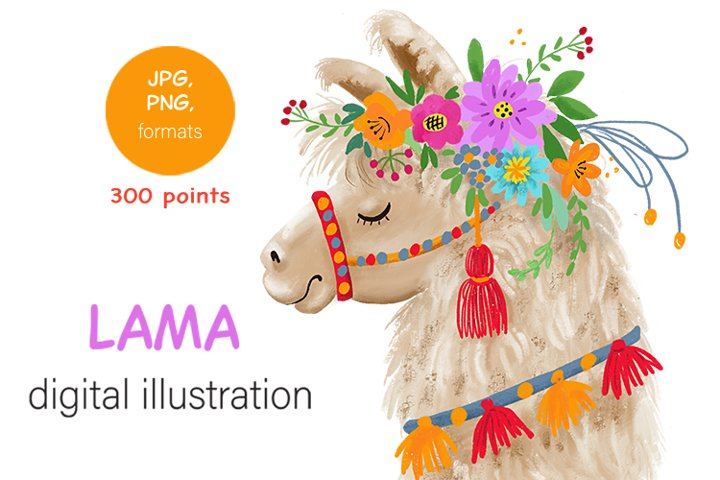 digital illustration of Llama