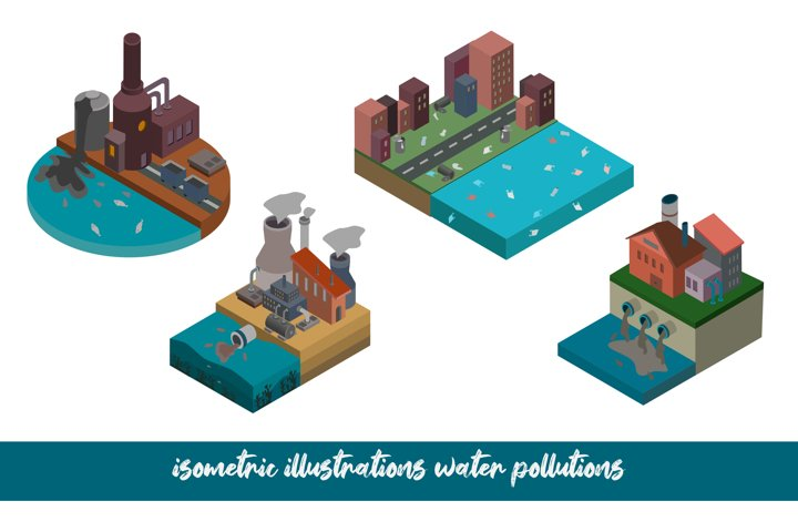 Vector illustration on the theme of water pollution.