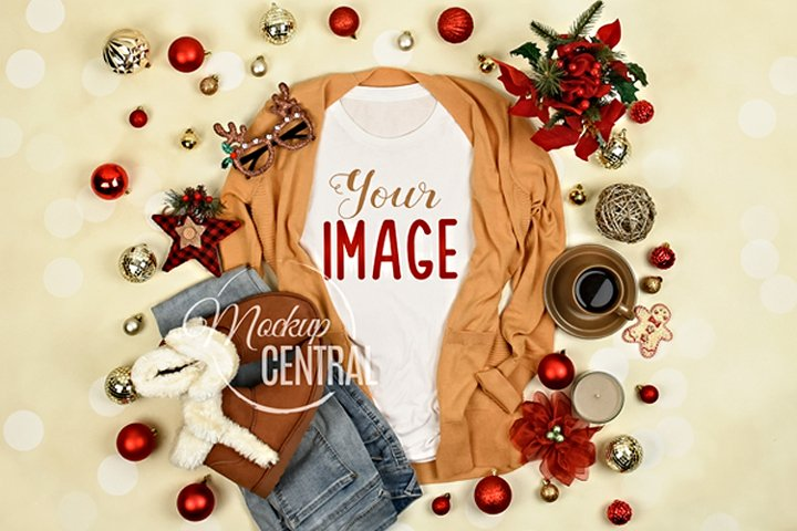 Womens Blank White T-Shirt Christmas Winter Shirt Mock Up