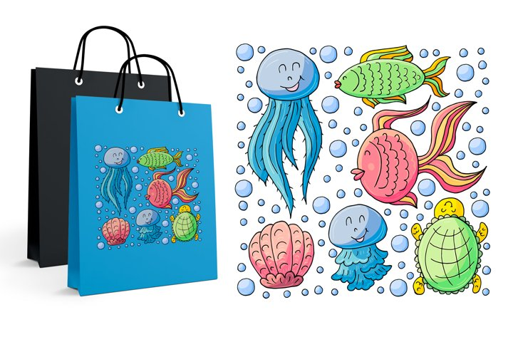 Print for t-shirts. Jellyfish, fish, turtle, shells