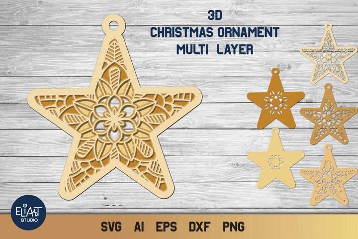 3D Layered Star Ornament SVG | Multi Layer Christmas SVG