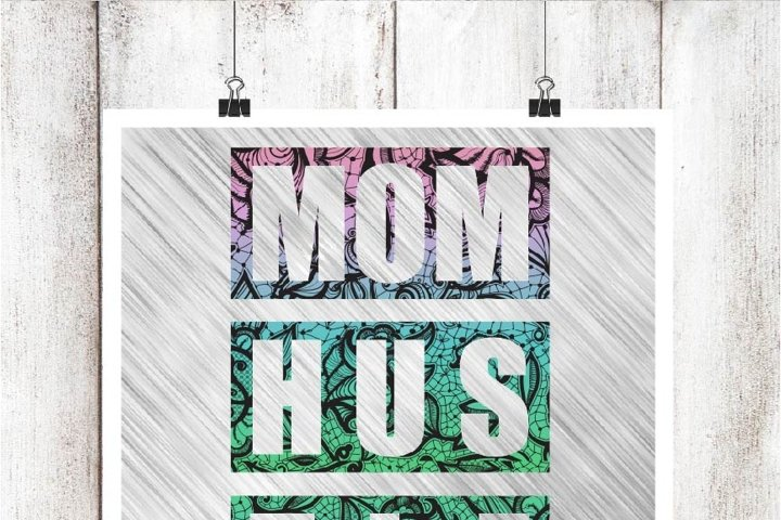 Mom Hustle Watercolor Lace Digital Graphic