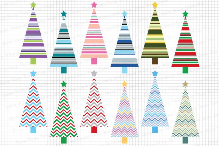 Christmas Trees Clipart, Christmas graphic and illustrations