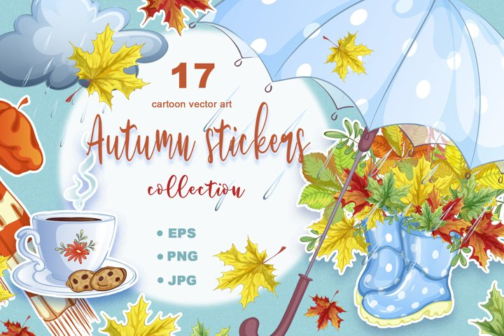 Autumn. Collection of vector stickers