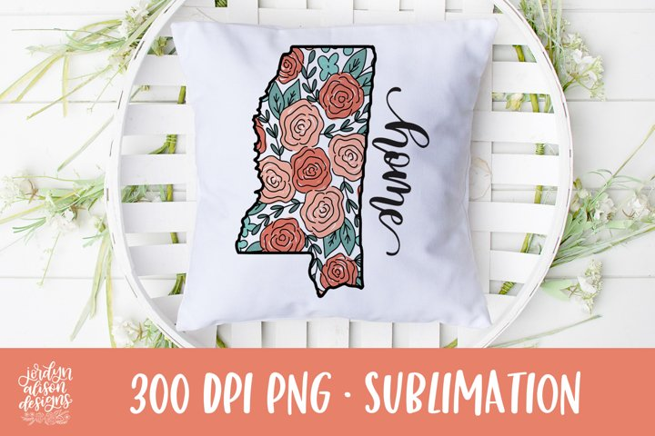 Home Mississippi, Coral Roses Sublimation Design