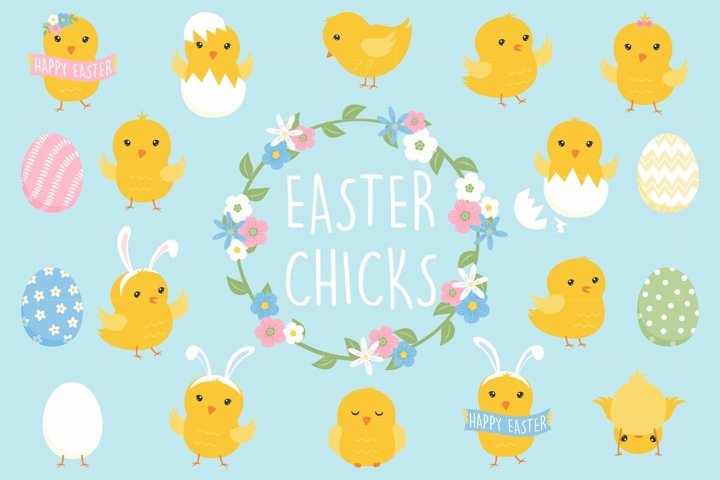 Easter Chick Clipart Set - 41 PNG Spring Graphics