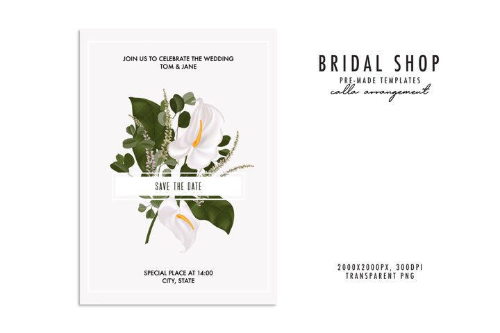Boho flower watercolor plant wedding invitation bouquet