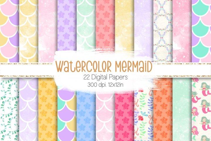 Watercolor Mermaid Digital Papers