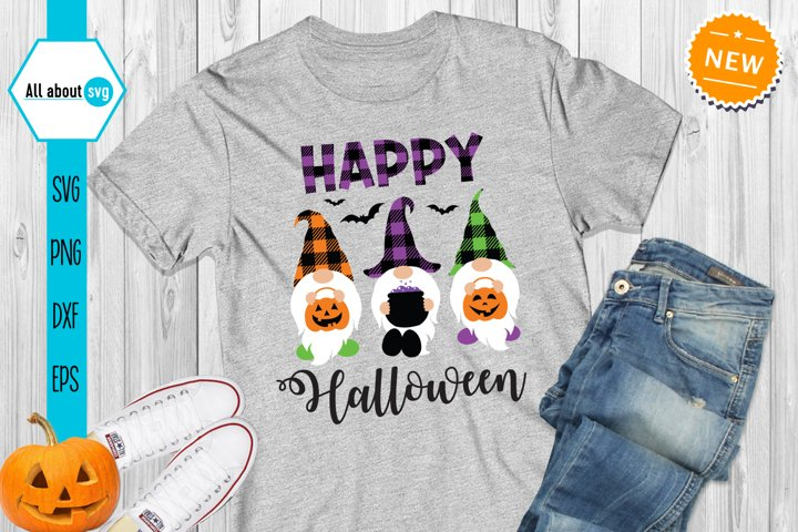 Happy Halloween Gnomes Svg, Halloween buffalo plaid svg