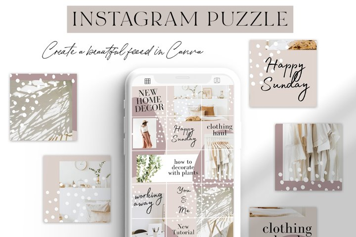 Neutral Canva Instagram Puzzle Grid Template