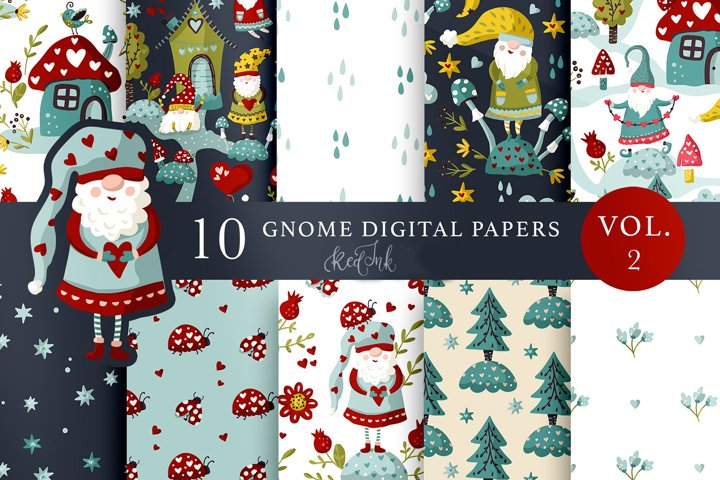 Valentines Gnome. Seamless patterns. Vol. 2