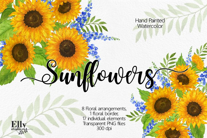 Sunflowers Watercolour Clip Art, Summer Flower Clipart