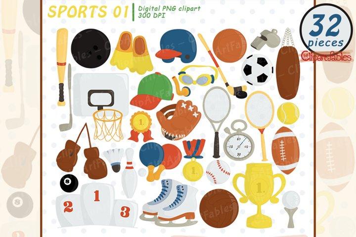 SPORT EQUIPMENTS clipart, Ball clip art, Sport - INSTANT