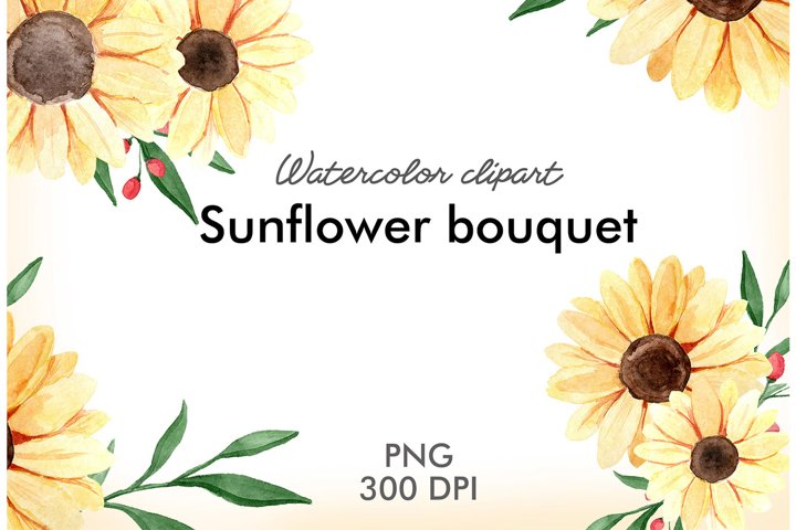 Watercolor sunflower bouquets with greenery clipart