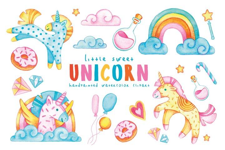 Little Unicorn Watercolor Illustration. Magic Clipart