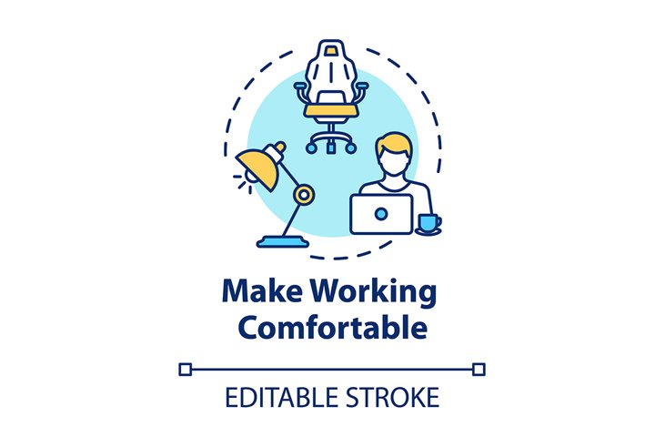 Make working comfortable concept icon