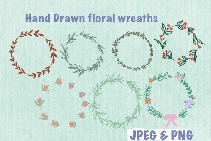 Hand Drawn floral wreaths