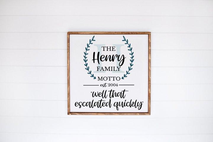 Monogram Family Sign - Family Motto