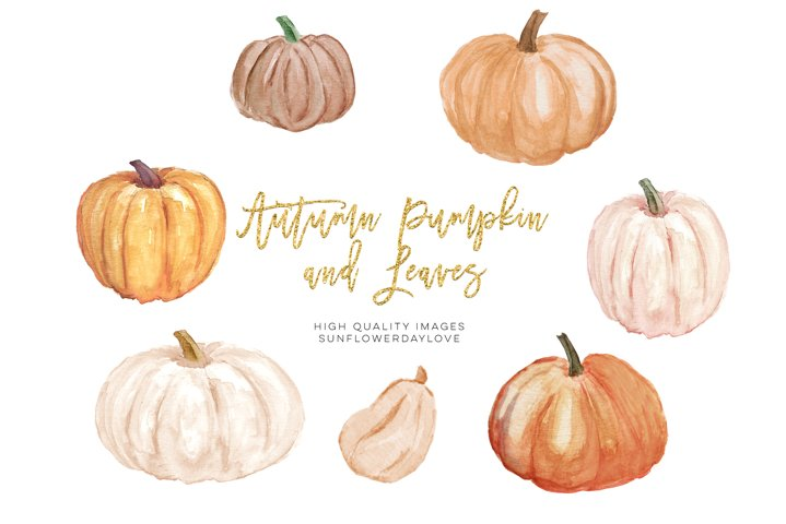 Autumn Pumpkin clipart, Autumn Watercolor Clipart