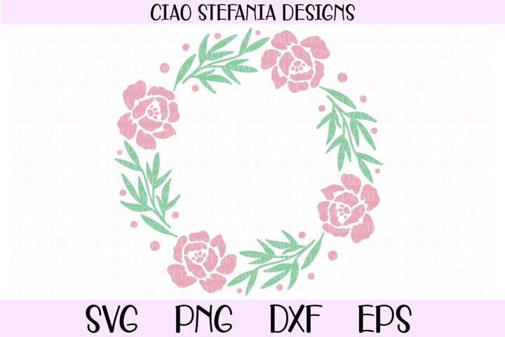 Peony Flowers Wedding Wreath SVG Cut File