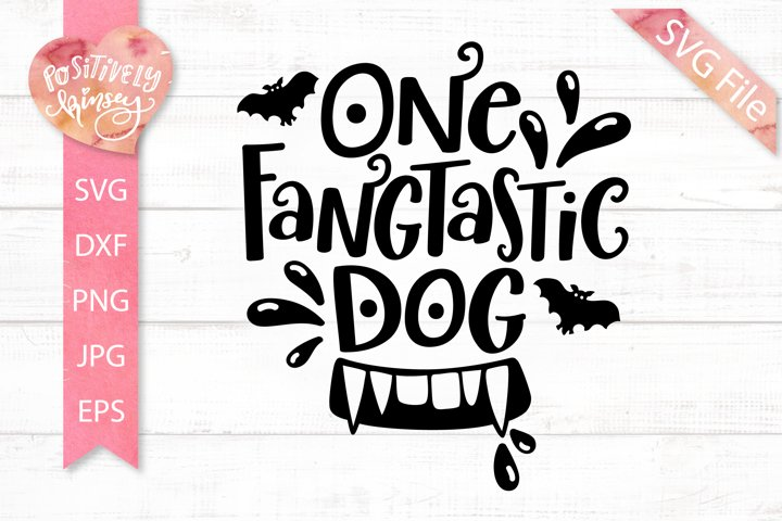 Dog Tag SVG for Halloween, One Fangtastic Dog SVG, Cute