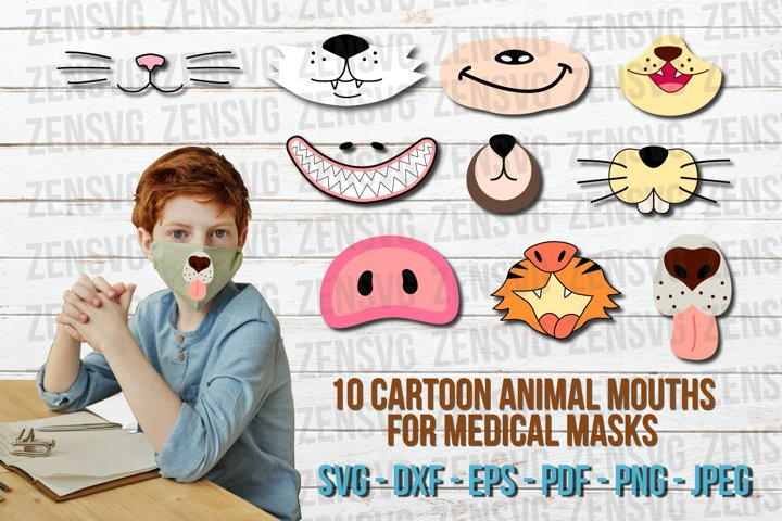 10 Smiling Cartoon Animal Mouths Face Mask Cut File Bundle