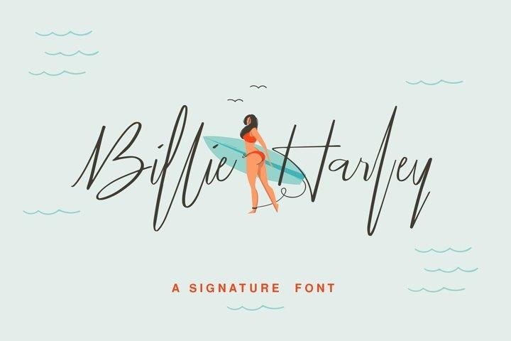 Billie Harley Signature Font example