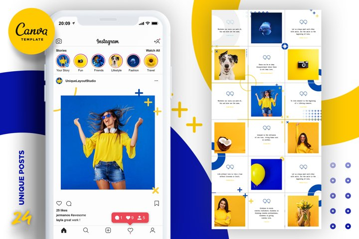 Blue and yellow Instagram Puzzle Preset for Canva