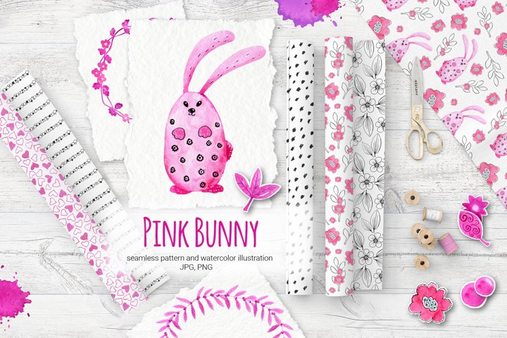 Pink Bunny. Cartoon animals. Watercolor. Digital paper.