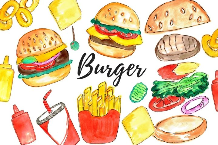 Watercolor burger clipart