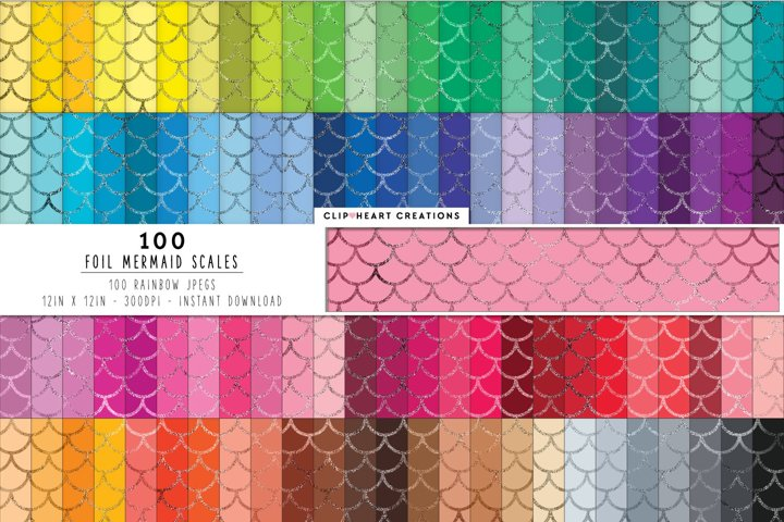 100 Foil Mermaid Scales Digital Papers in Rainbow Colors