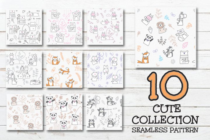 Set of Cute Animal Seamless Pattern